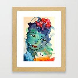 Green watercolor girl Framed Art Print