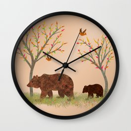Walk In The Woods With Mama Bear Wall Clock
