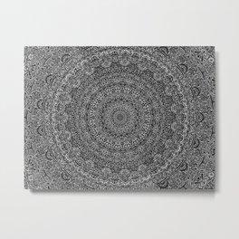 The Most Detailed Intricate Mandala (Black) Maze Zentangle Hand Drawn Popular Trending Metal Print