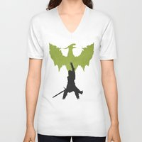 dragon age inquisition V-neck T-shirts featuring Dragon Age: Inquisition V2 by FelixT