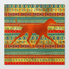 Azawakh Sighthound on African Patern Canvas Print
