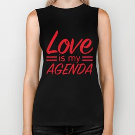 LOVE IS MY AGENDA red Biker Tank
