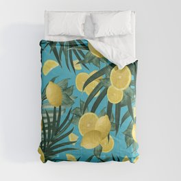 Summer Lemon Twist Jungle #4 #tropical #decor #art #society6 Comforters