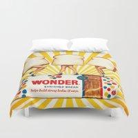 women Duvet Covers featuring Wonder Women by Kelly Gilleran