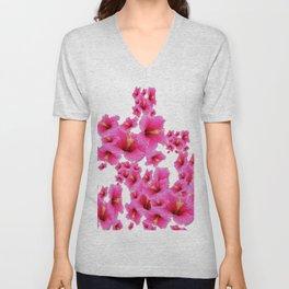 MODERN ART TROPICAL FUCHSIA HIBISCUS  FLOWERS Unisex V-Neck