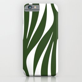 Maldives Minimalist Botanical Abstract in Forest Green and White  iPhone Case