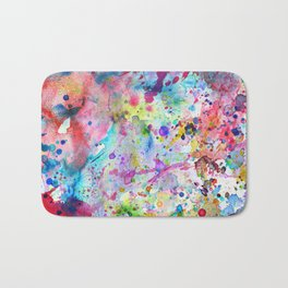 Abstract Bright Watercolor Paint Splatters Pattern Bath Mat