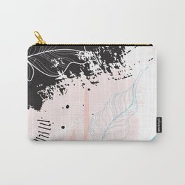 Exotic leaves on grunge background Carry-All Pouch