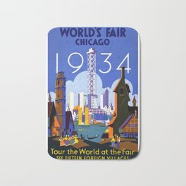 World's Fair Chicago 1934 - Vintage Poster Bath Mat