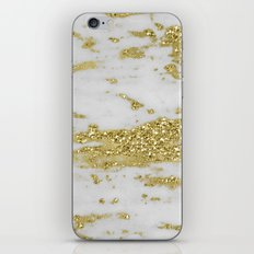 Marble - Glittery Gold Marble on White Design iPhone & iPod Skin