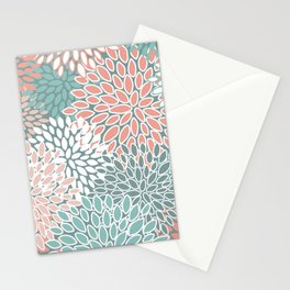 Festive, Floral Prints, Teal and Coral, Abstract Art Stationery Cards