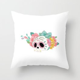 Sugar Skull Day of the Death white Throw Pillow