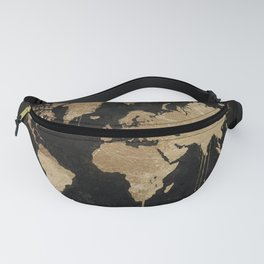 Gold World Map Fanny Pack