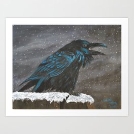 Winter Raven Art Print