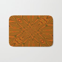 Autumnal Leaves Red Green and Amber Abstract Kaleidoscope Bath Mat