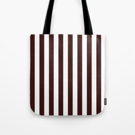 Narrow Vertical Stripes - White and Dark Sienna Brown Tote Bag