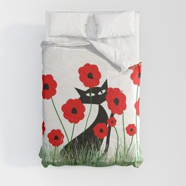 Whimsical Black Cat and Red Poppies Comforters