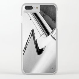 Classic Car Tail Fin, Photo, Black and White Clear iPhone Case