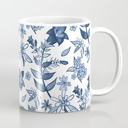 Monochrome Blue Alpine Flora Coffee Mug