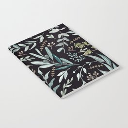 Black Eucalyptus Pattern Notebook
