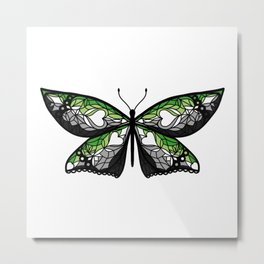 Fly With Pride: Aromantic Flag Butterfly Metal Print