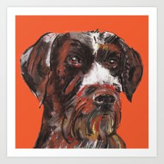 Hunting dog, printed from an original painting by Jiri Bures Art Print