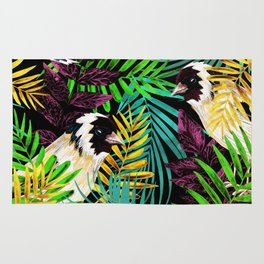 Tropical birds and green leaves Rug