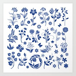 Blue Floral Toile  Art Print