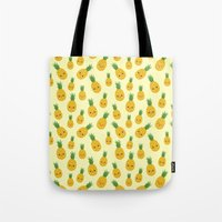 pineapples Tote Bags featuring Pineapples by Sara Showalter