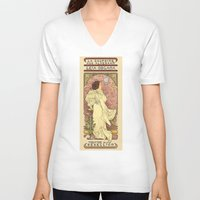mucha V-neck T-shirts featuring La Dauphine Aux Alderaan by Karen Hallion Illustrations