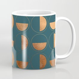 Copper Circles Art Deco on Emerald Coffee Mug