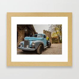 Historic blue-colored pickup parked in the streets of an historic Italian village Framed Art Print