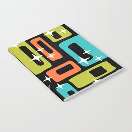 Retro Mid Century Modern Abstract Pattern 222 Orange Chartreuse Turquoise Notebook