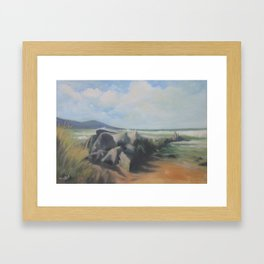 Beached Rocks Framed Art Print