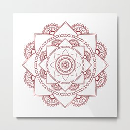 Mandala 01 - Burgundy on White Metal Print