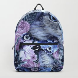 Cat In Flowers. Winter Backpack