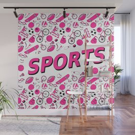 I Love Sports (pink pattern) Wall Mural
