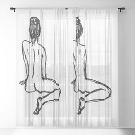 charcoal naked ballerina minimalistic line art Sheer Curtain