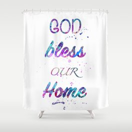 God Bless Our Home Print Watercolor Giclee Wall Art Home Decor Shower Curtain