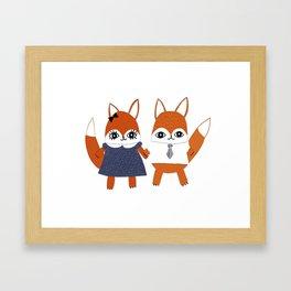 Fox Couple Gets Dressed Up Framed Art Print