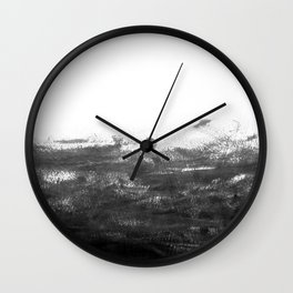 Durand - black and white minimal painting india ink brushstrokes abstract art canvas for home decor Wall Clock