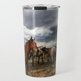 Pride - Horse Watches Over Herd as Storm Approaches Travel Mug