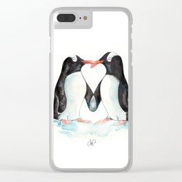 Penguin Love Clear iPhone Case