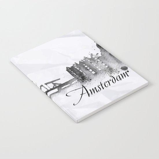 White Amsterdam Skyline Notebook