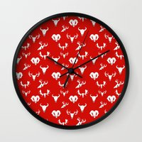 skulls Wall Clocks featuring Skulls by Suzz in Colour
