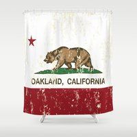 oakland Shower Curtains featuring Oakland California Republic Flag Distressed  by NorCal
