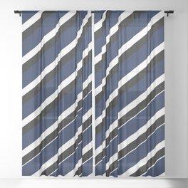 TEAM COLORS 1...navy, black white Sheer Curtain