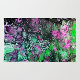 Psycho - Jellyfish Flow in the Neon Green Glow of the Deep Black Sea by annmariescreations Rug