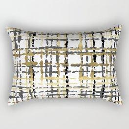 Black and Gold Loose Plaid Rectangular Pillow