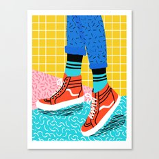 Toe Drag - memphis throwback fashion shoes retro pattern grid pink bright neon hipster Canvas Print